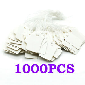 1000x White Blank Writable Price Tags Clothing Hang Labels With String Tag