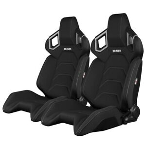 Braum Black Cloth Alpha X Racing Seats With Grey Stitching Brr5 Bfgs Pair