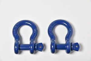 2x 7 8 Bow Shackle D ring 6 5 Ton Blue W 1 Clevis Screw Pin 14000 Lbs Hummer