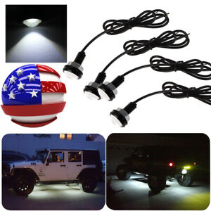 4pc Led Rock Lights For Jeep Truck Off Road Trail Fender Underbody White Light