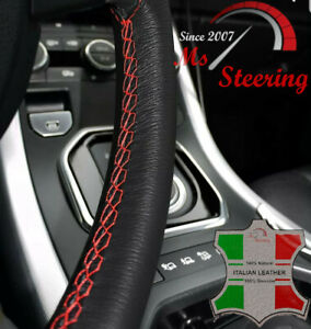Black Leather Steering Wheel Cover Red Stitch For Volvo Truck Vnl 780