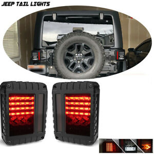 2pcs Led Rear Brake Smoke Tail Lights For 2007 2018 Jeep Wrangler Jk
