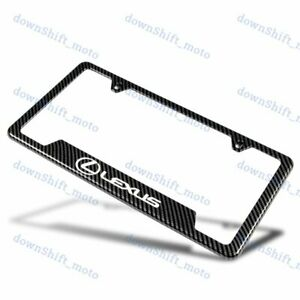 For 1pcs Lexus Carbon Fiber Look License Plate Frame Stainless Steel Metal New