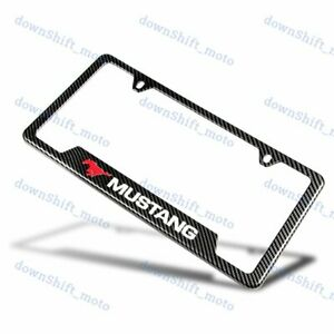 For 1pcs Mustang Carbon Fiber Look License Plate Frame Abs New