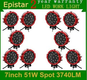 10x 7inch Red 51w Led Work Lights Round Spot Off Road Driving Boat Atv Suv Truck