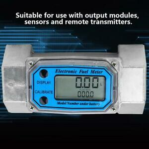 Mini Digital Turbine Flowmeter Diesel Fuel Flow Meter 15 120l 1 5inch Npt Blue G