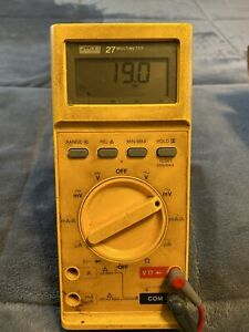Fluke 27 Multimeter With Probe Leads And Box Working New Battery