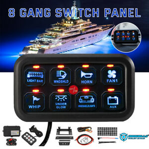 Universal 8 Gang On off Control Switch Panel Blue Led For Jeep Dodge Suv Truck