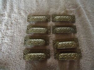 Set 8 Nos Matching Ritter Solid Brass Drawer Pulls Free Shipping