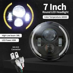 Dot 7 Inch Round Led Headlight Motorcycle Halo Sealed Projector Black For Harley