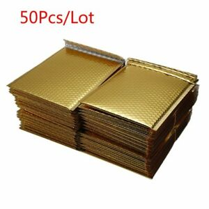50pcs lot Gold Plating Bubble Envelopes Bags Mailers Padded Shipping Mailing Bag