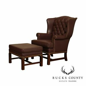 Chippendale Style Tufted Leather Wing Chair With Ottoman