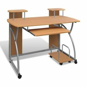 Computer Desk With Pull out Keyboard Tray Brown Cart Game Laptop Table