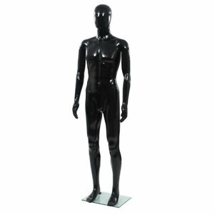 Full Body Male Mannequin With Glass Base Glossy Black 72 8