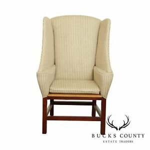 Chippendale Style Unusual Rush Seat Wing Chair