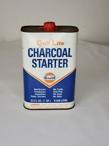 Vintage Gulf Charcoal Starter 1 Quart Can (Bin 8)