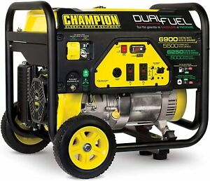 Champion 6 900 w Hybrid Dual Fuel Gas Powered Portable Generator With Wheel Kit