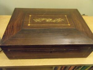 Antique Wooden Inlaid Sewing Box With Tray And Mirror