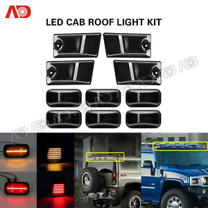 10x Smoke For Hummer H2 H2 Sut 2005 09 Led Cab Roof Light Marker Roof Top Lamp