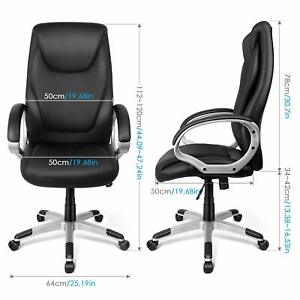 Black Pu Leather High Back Office Chair Executive Computer Desk Chair Adjustable