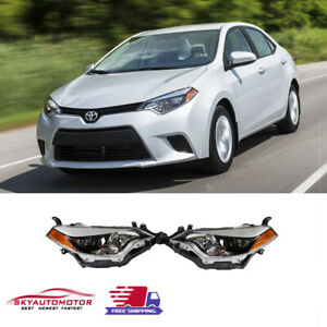 Fits For 2014 2015 2016 Toyota Corolla Headlights Black Factory Style Pair