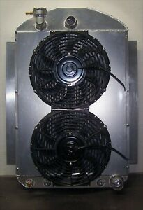 1937 1946 Chevy Truck Aluminum Radiator With Dual Fans And Shroud Made In Usa