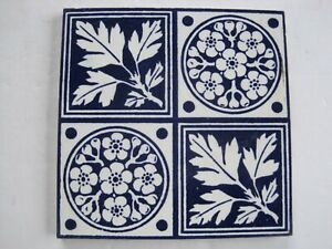Antique Victorian Transfer Print Tile Blue Floral Leaves Design Maw C1880