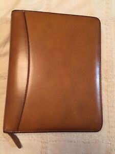 Franklin Covey Quest 7 Ring Binder Planner Brown Aniline Leather