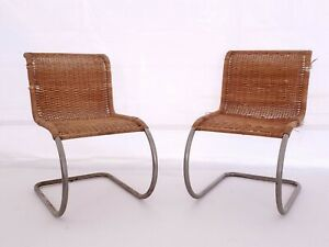 Mies Van Der Rohe Attributed Cantilever Woven Cane Tubular Steel Lounge Chairs