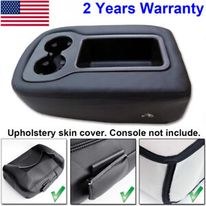 Black For 07 13 Silverado Tahoe Sierra Armrest Center Console Lid Cover Leather