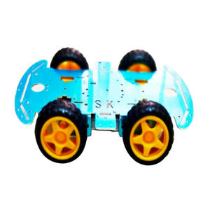 1pcs 4wd Chassis Kit Smart Car Diy Model Blue W Tt Motor Accs Acrylic