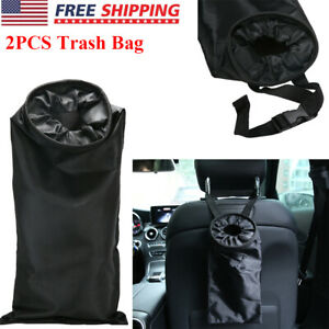2 Car Trash Bag Can Wastebasket Litter Garbage Keeper Back Seat Hang Organizer