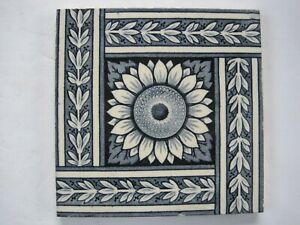 Antique Victorian 6 Minton Hollins Transfer Print Tile Sunflower C1875 1910