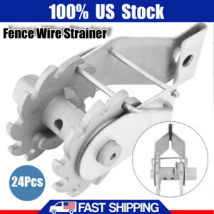 24pc Inline Ratchet Wire Strainer Tensioner For Electric Fence Farm Fence Silver