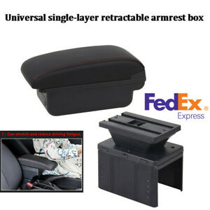 Universal Single Layer Flat Style Pu Leather Car Central Container Armrest Box