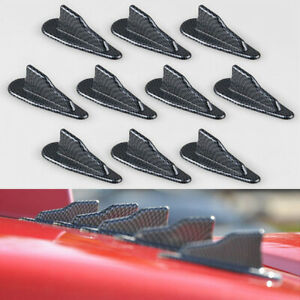 10x Evo Style Pp Roof Shark Fins Spoiler Wing Kit Vortex Carbon Black Fits Civic