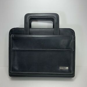 Franklin Covey Classic Faux Black Leather Zipper Binder With Retractable Handles