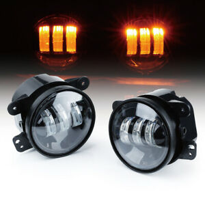 Xprite 60w Amber 4 Cree Led Fog Lights Driving For 2007 2020 Jeep Wrangler Jk
