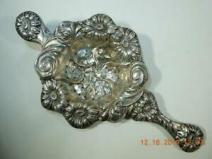 Antique Tea Strainer High Repousse 2 Handle Sterling Silver Floral Kirk Style