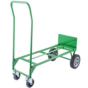 Hand Truck Convertible Dolly 300lb W 8inch Plastic Core Wheels In Green