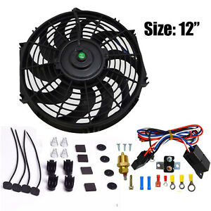 12 Electric Cooling Fan 12v Push in Radiator Fin Probe Thermostat Kit Black