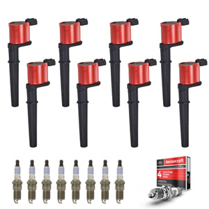 Red Uf191 Ignition Coils Sp493 Motorcraft Spark Plugs 8pcs For Ford Lincoln