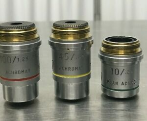 Lot Of 3 Ao Microscope Objectives 10x 100x 45x From A Working Ao Microscope