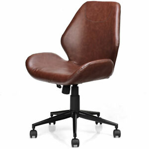 Office Home Leisure Chair Pu Leather Mid back Upholstered Swivel Adjustable