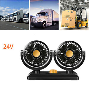 24v Dual Head Car Electric Cooling Fan 360 Rotatable Air Cooler Fan 2 Speed