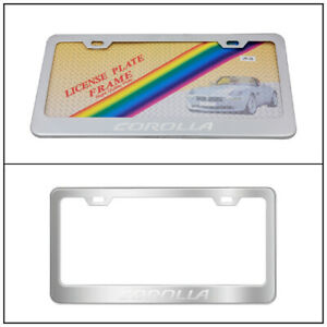 Stainless Steel Chrome License Plate Frames Screw Caps Tag W Corolla Emblem