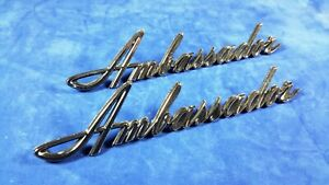 Amc Ambassador Script Exterior Trim Large Pair Excellent