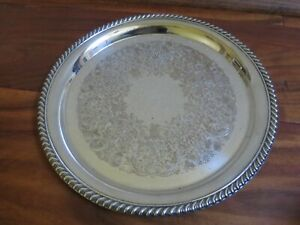 Vintage Wm Rogers Silver Plated 12 1 4 Round Pierced Serving Tray Platter 871