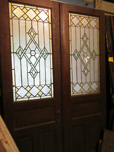 Antique Chestnut Stained Glass Double Entrance French Doors 56 X 89 Salvage