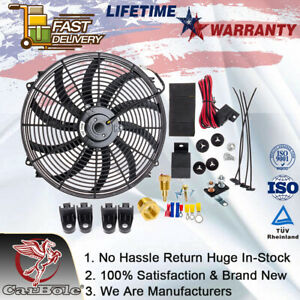 16 Inch Electric Radiator Cooling Fans Thermostat Fan Relay Switch Kit 3 8 Npt